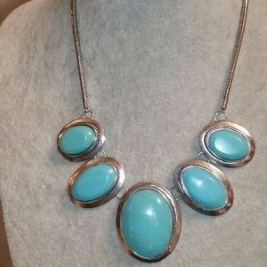 Silver Tone, Faux Turquoise Statement Necklace